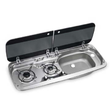DOMETIC HSG 2370 R TWO-BURNER HOB AND SINK COMBINATION WITH GLASS LID, 900 X 370 MM